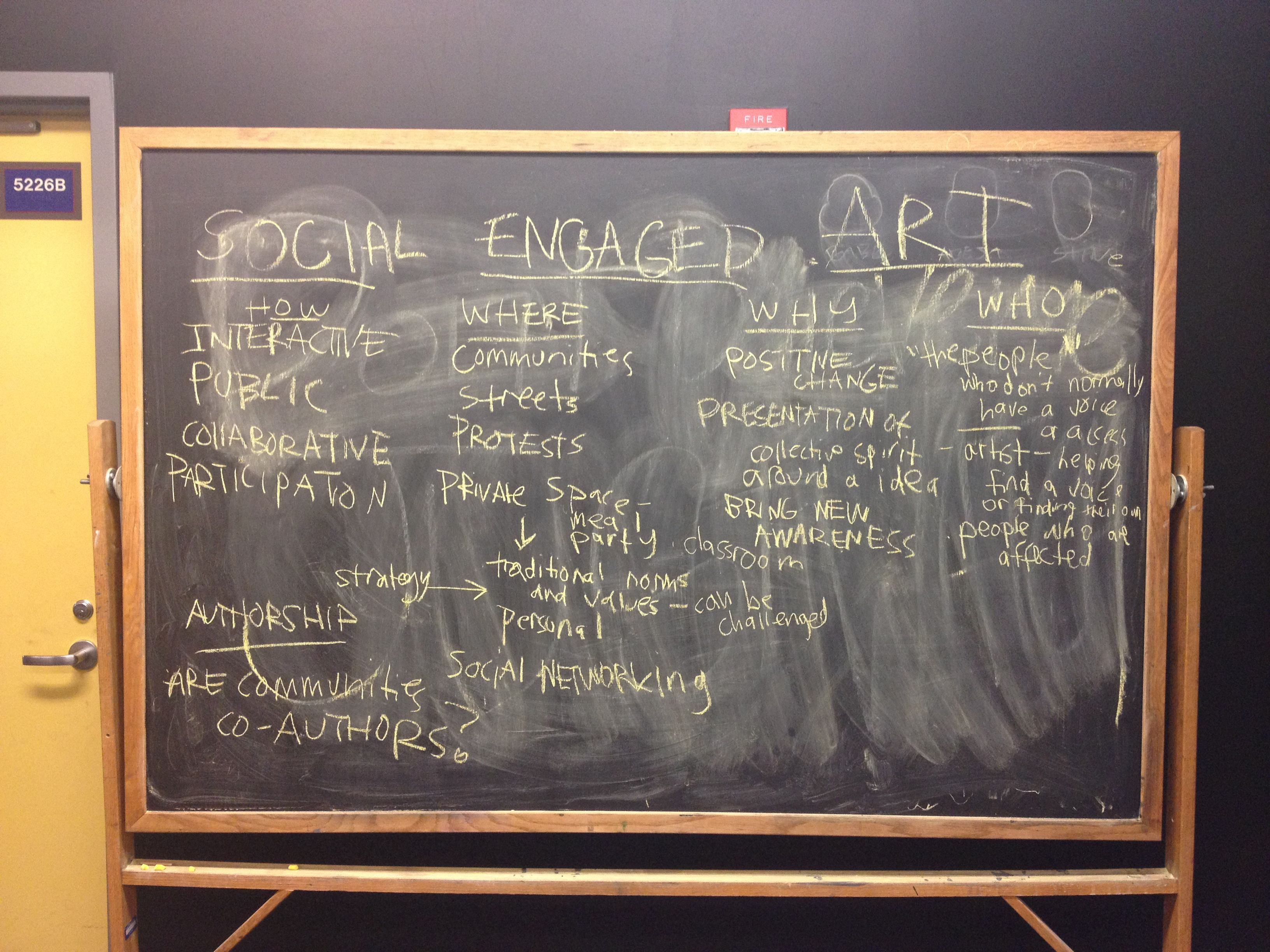 "First day of ""Introduction to Socially Engaged Art"" class, co-taught with Faheem Majeed at University of Illinois at Chicago, Spring 2013. Photo: Abigail Satinsky."