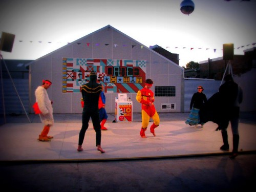 The Superhero Dance Squad in action on the Dance-O-Mat! 222 St Asaph Street. Photo: Gap Filler