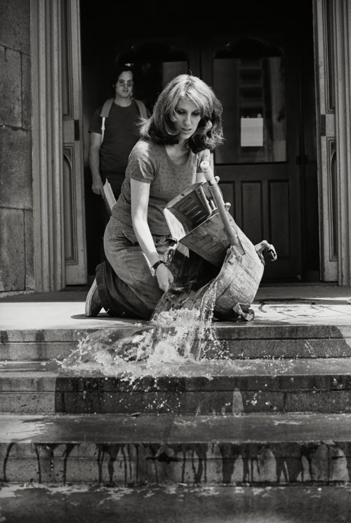Mierle Laderman Ukeles, Hartford Wash: Washing, Tracks, Maintenance:Outside, 1973 performance at Wadsworth Atheneum, Hartford, CT, part of Maintenance Art Performance Series, 1973-74 (source: http://sites.moca.org/wack/2007/07/25/mierle-ukeles-manifesto-for-maintenance-art-1969/)