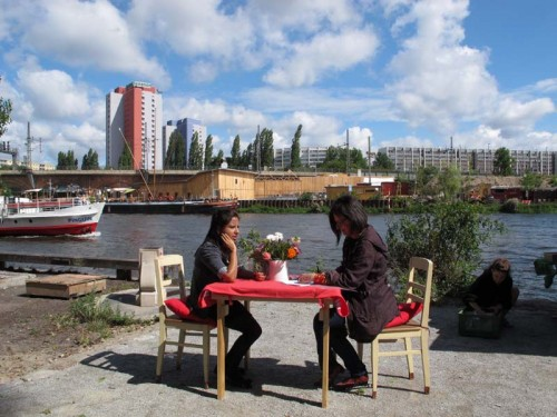 In Conversation at The Spree, Berlin, August 2014. © Terry Kurgan