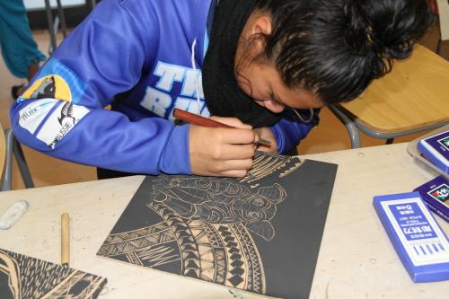 Woodcut Printmaking Workshops. Image courtesy of the artist, Michel Tuffery, Wellington, Aotearoa New Zealand.